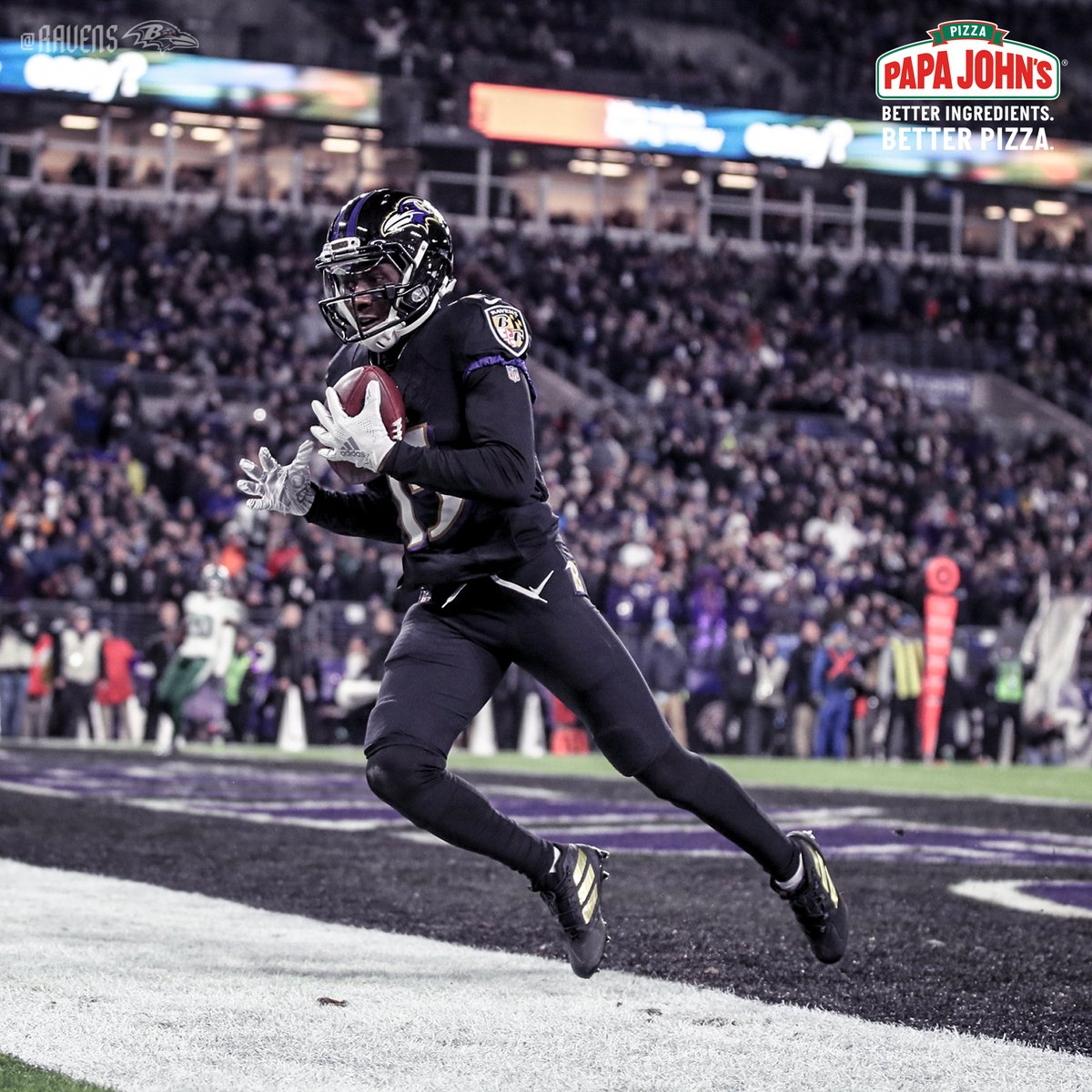 TOE. DRAG. SWAG.   @Primetime_jet's clutch TD is the Papa John's Play of the Game!  Get 50% off your order at @PapaJohnsBal today by using the promo code RAVENS50!