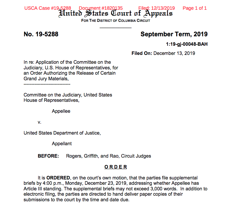 DC Circuit just ordered up a new round of court papers in House fight for access to Mueller grand jury materials /// Judges want to explore whether House has 'standing' to bring a claim to court in the first place  https:// assets.documentcloud.org/documents/6576 099/Grand-Jury-Mueller-20191213.pdf   … <br>http://pic.twitter.com/RJpwgrRxbF