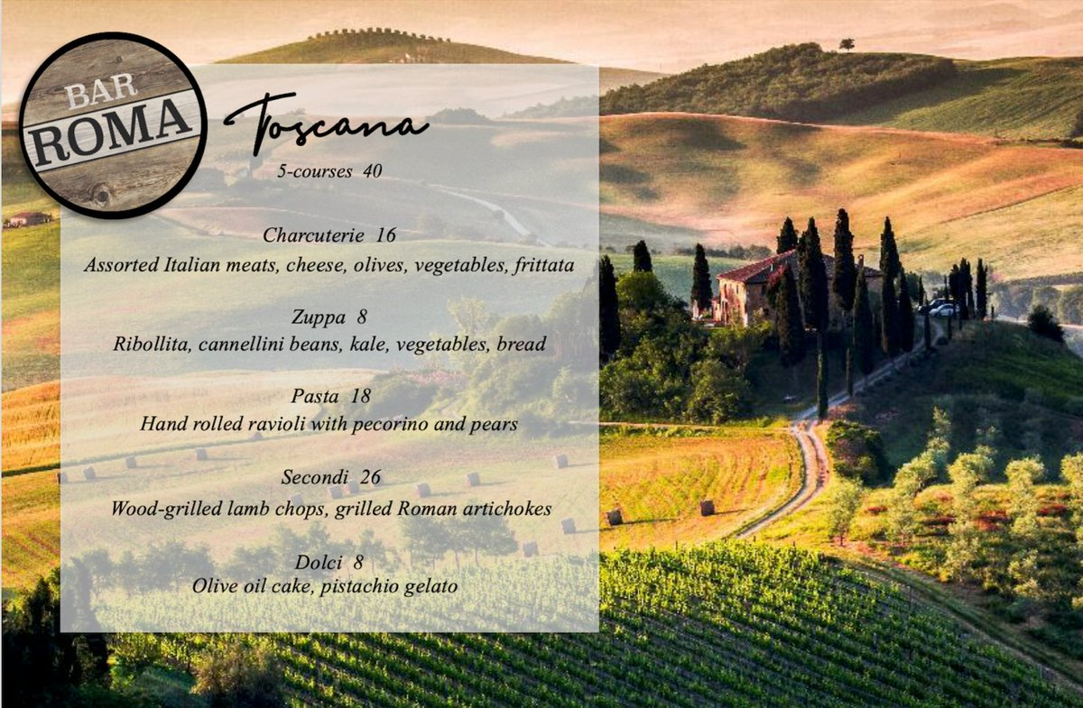 """Experience a """"Taste of #Tuscany"""" at #BarRoma! Chef Ramos will feature an array of #Tuscan menu specials, inspired by his recent trip to #Italy, from December 17-20. The dishes will be available a la carte, or may be enjoyed as a five course tasting menu for $40 per person.pic.twitter.com/3M2RXILNRn"""
