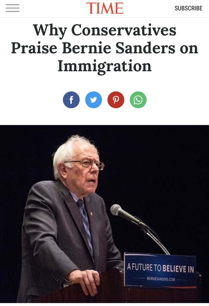 What do you mean? Bernie has reached across the aisle to Steve King & Lou Dobbs on immigration.