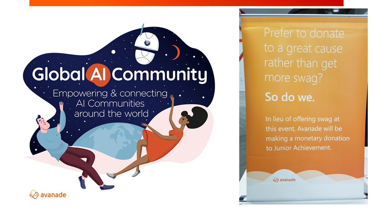 RT elbruno: This year, AvanadeInc  is a proud sponsor of #GlobalAIBootcamp. It will be hosted at Microsoft Canada Offices on December 14th. And as we been doing in past events, instead of Swag, we will make a donation to a great cause in our Avanade bo…