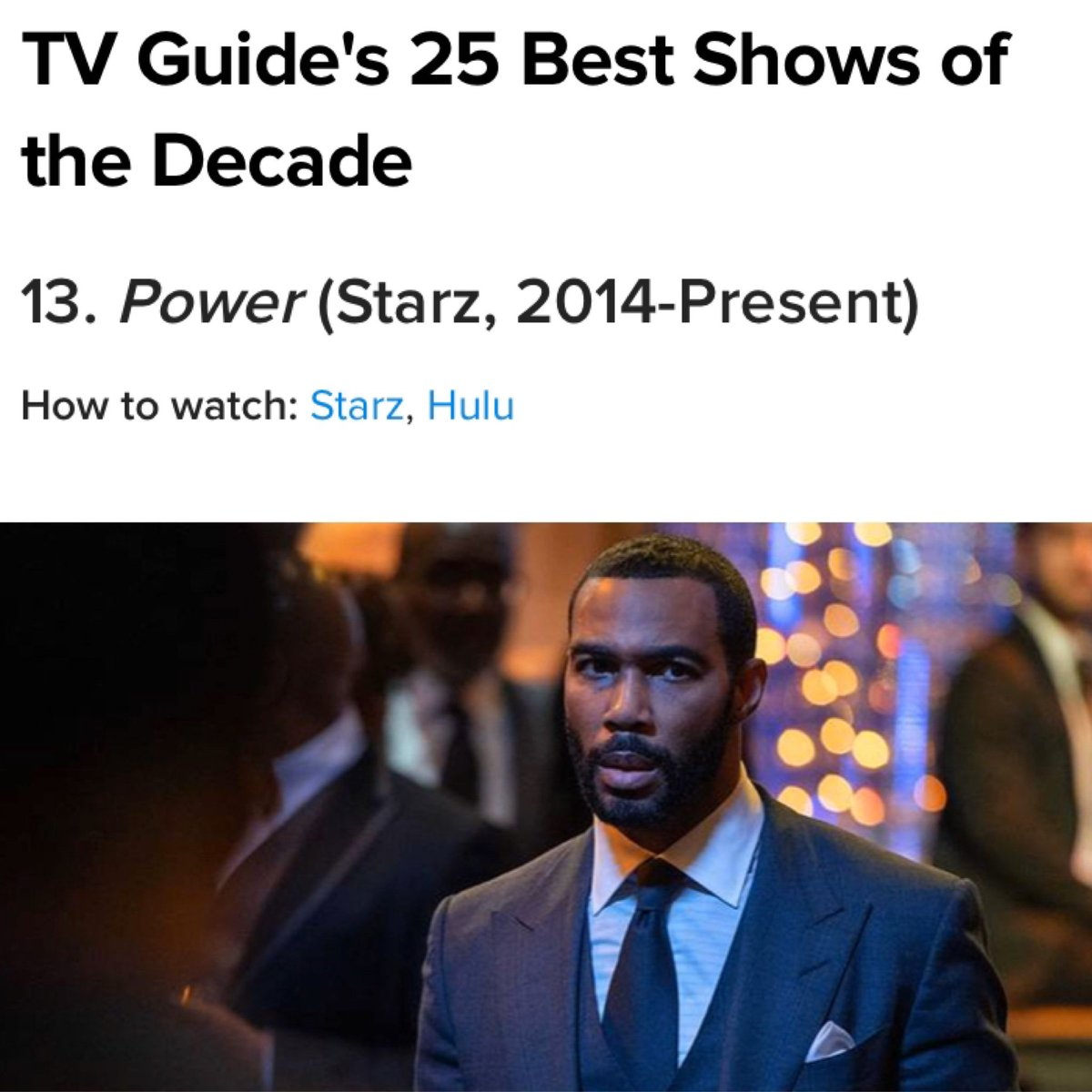 "Proud to be ending the year on TV Guide's ""25 Best Shows of the Decade""! I am so thankful for the @POWER_Starz family and all the hard work put into this show. Shout out to the #POWERTV fans who make this possible ❤️"