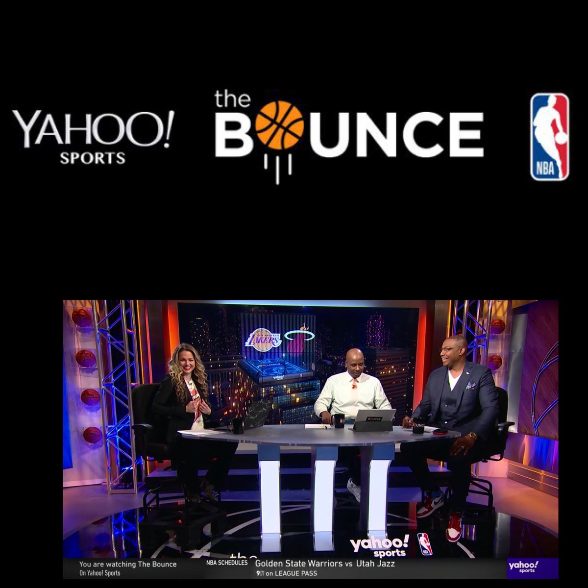 Allie is back! I hope you guys are watching @nba 🏀 with us #TheBounce online @yahoosports app *Mon * Wed *Fri. 7:30 p.m. (EST) Until Final Basketball Game Ends! 👀 with Host @ALaForce and Analysts @qrich @realtuffjuice makeup, hair and male grooming by @jamillahsimmons