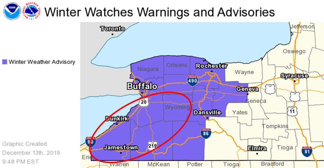 Winter Weather Advisory issued for parts of the region