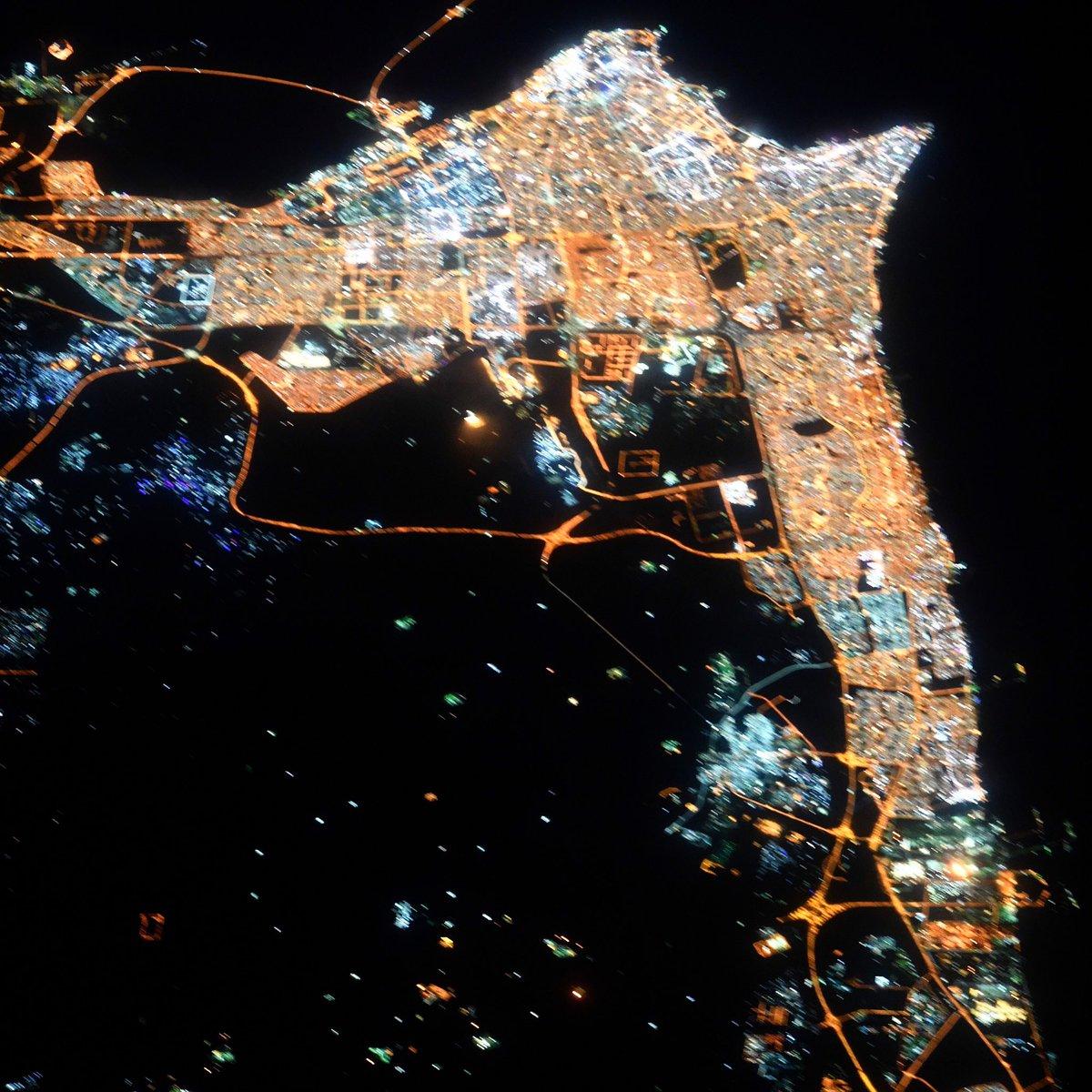 Like a diamond sparkling on the Persian Gulf - goodnight Kuwait City! #GoodnightFromSpace
