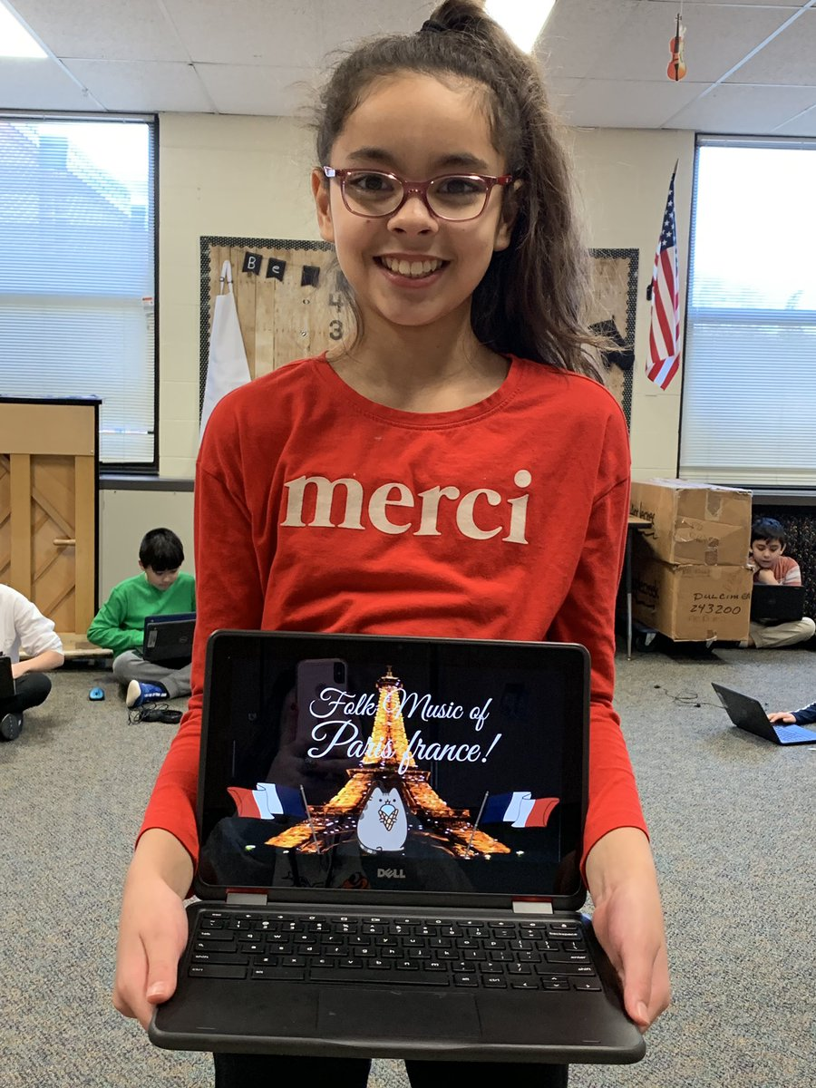 This Dooley Dragon was so excited to work on her World Instrument Project on her chromebook that she wore a shirt to match the country she's researching! #weare54 #wearedooley #musicaroundtheworld #musicoffrancepic.twitter.com/QdhZHqzzY0
