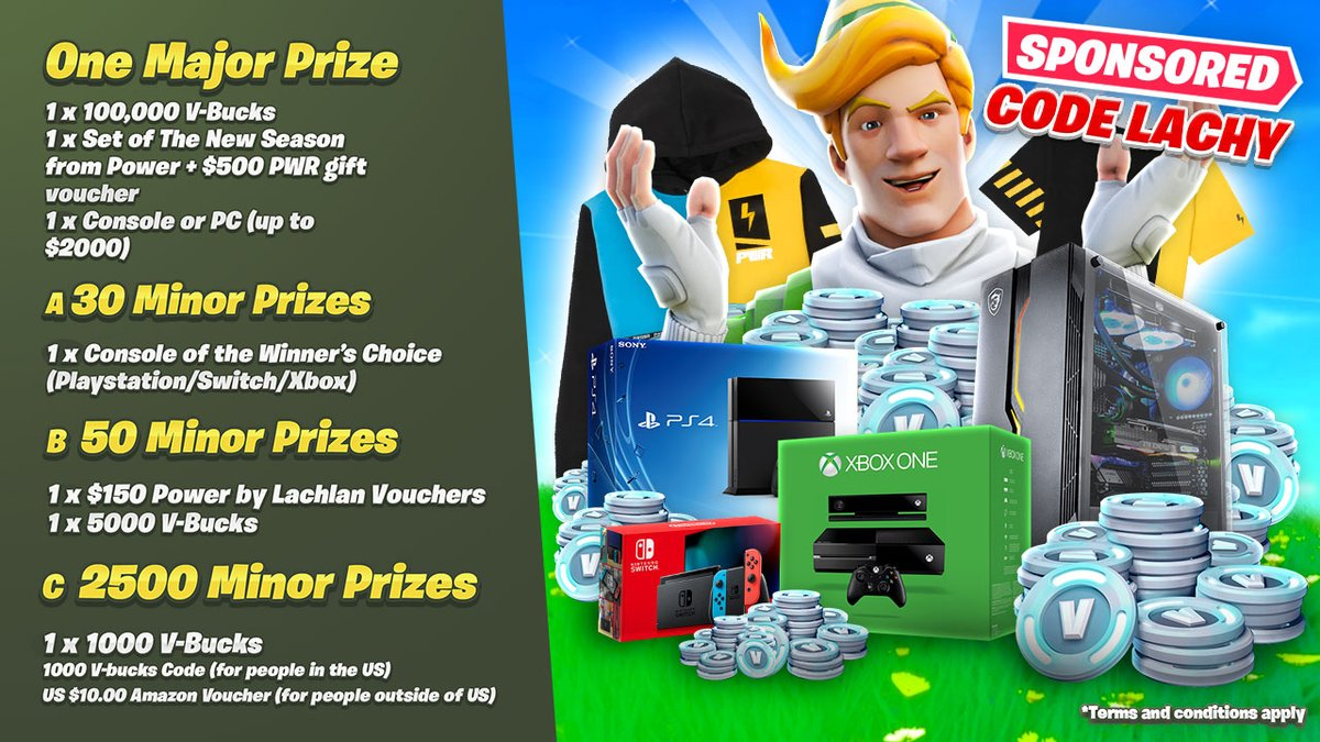"""⚡️CODE LACHY HOLIDAY GIVEAWAY🎅 Sponsored by Fortnite supporters using code """"Lachy"""" #ad  Win 100,000 V-Bucks + a NEW PC/Console   OVER 2500 WINNERS & PRIZES: 2 1/2 MILLION V-Bucks💰 30 NEW Consoles🎮 AND Stacks of @powerbylachlan apparel⚡️  Enter here: https://gleam.io/wCVGI/lachlans-holiday-support-a-creator-giveaway…"""