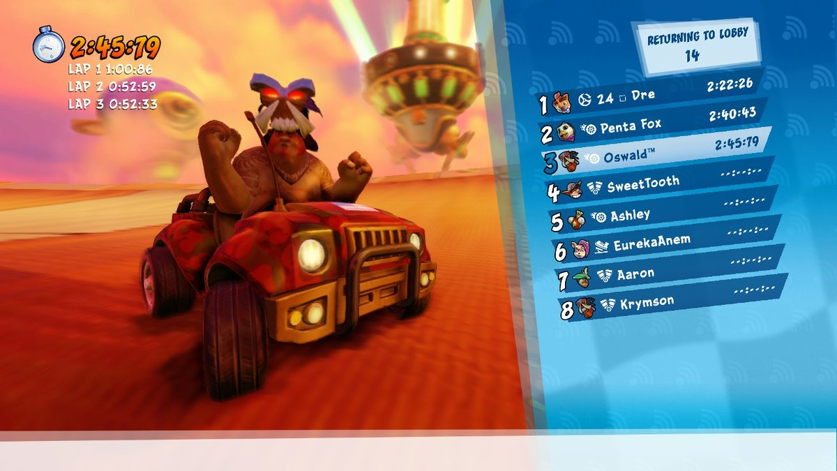 Forgot to post this last month, but I think this was SweetTooth who I raced before #CTRNitroFueled #NintendoSwitch<br>http://pic.twitter.com/M19DU9IfmG