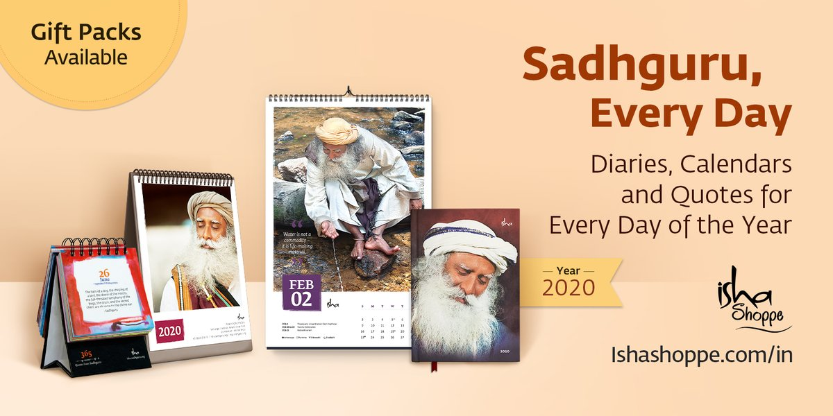 A Graceful start to your 2020. Sadhguru Calendars & Diaries for the year now available. https://www.ishashoppe.com/in/2020-calendars/…