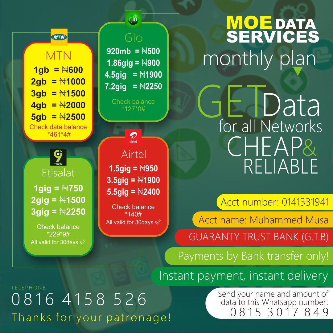 Do you need cheap & affordable data subscriptions plans? I can be your data plug. Kindly check the pictures below for the price lists. My DM is open for more enquiries or send a message on Whatsapp. Please Retweet if you come across this on your TL 🙏🏽