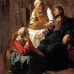 Image for the Tweet beginning: 12月15日 画家 #フェルメール 逝去(1632-1675) 人々の日常を題材とする風俗画を主に描きました。吟味された構図、緻密な筆遣い、優しく穏やかな光の表現を用いながら、美しく洗練された作品を残しました。カルヴァン派。 #マリアとマルタの家のキリスト #牛乳を注ぐ女 #手紙を書く女 #キリスト教豆知識