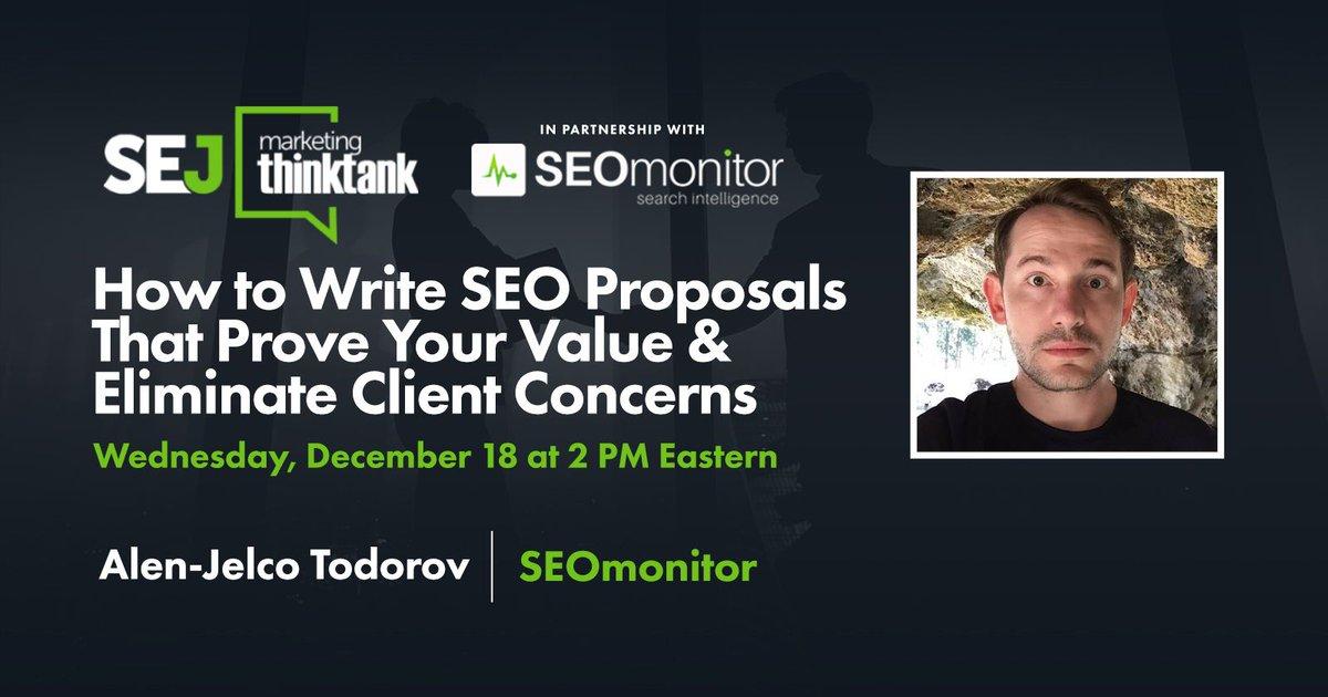 sejournal: How to Write SEO Proposals That Prove Your Value & Eliminate Client Concerns [Webinar] via brentcsutoras: https://www.searchenginejournal.com/write-seo-proposals-prove-value-eliminate-client-concerns-webinar/338845/?utm_source=twitter.com&utm_medium=social&utm_campaign=twitter-auto-publish… #contentmarketing #contentstrategy #digitalmarketing