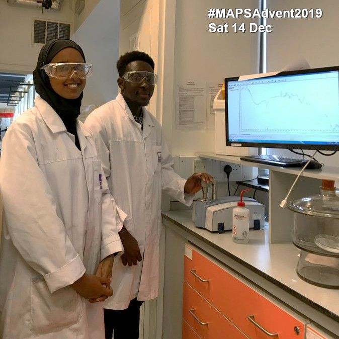 Day 14 of #MAPSAdvent2019 looks at some of the outreach work done by our departments – in this case, Chemistry students Deeqa and Desmond took part in two exciting projects, looking at air pollution around London schools. To read the full thread, see twitter.com/UCLChemistry/s…