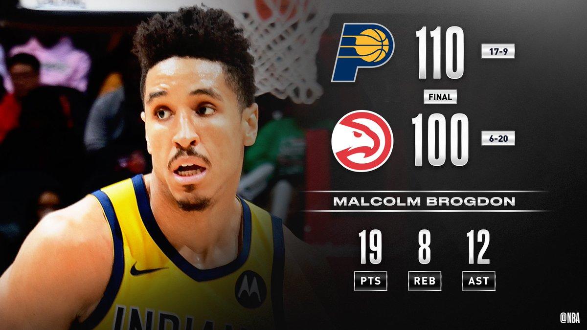 Malcolm Brogdon anora 19 puntos e #IndianaStyle vence 110-100 a #TrueToAtlanta.  Los @Pacers están 17-9.  #NBA