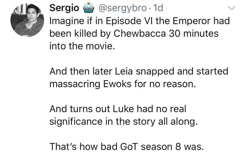 This is a phenomenal way to explain the shit show that was the final season of #GameOfThrones <br>http://pic.twitter.com/ooY9NyGxmZ