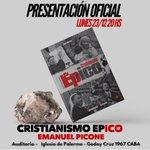 Image for the Tweet beginning: Presentación Oficial Libro @CristianismoEpico Lunes