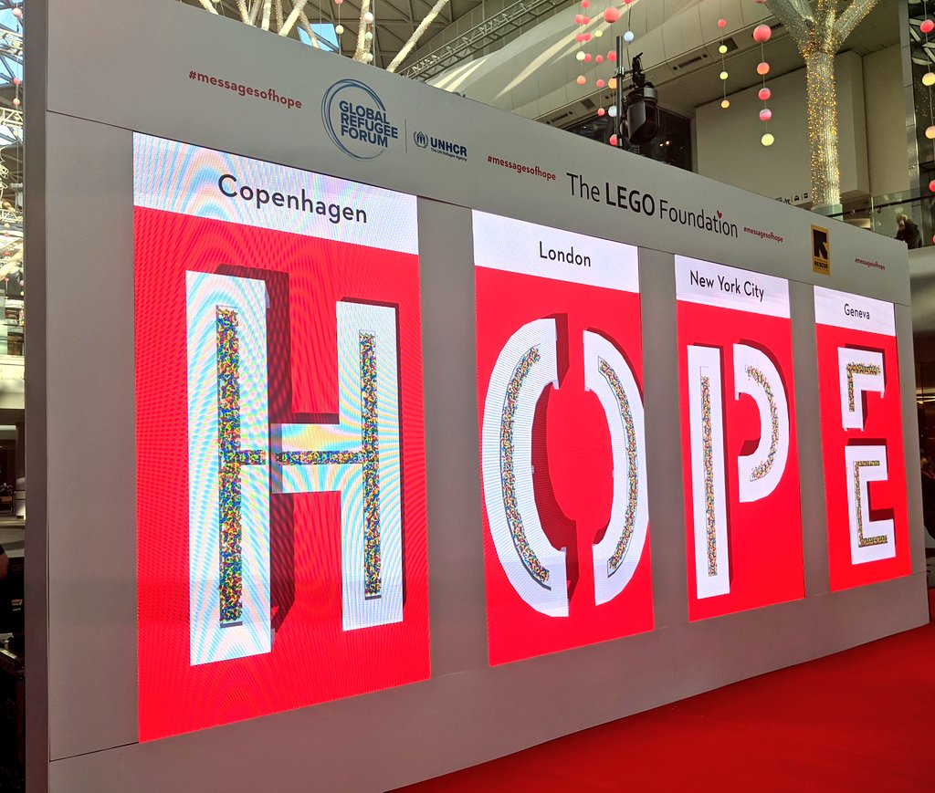 This week we announced our new $100 million partnership with the @LEGOFoundation.Today we're at @WestfieldLondon to celebrate their humanitarian work and see the power of play in action. #PlayMatters #messagesofhope