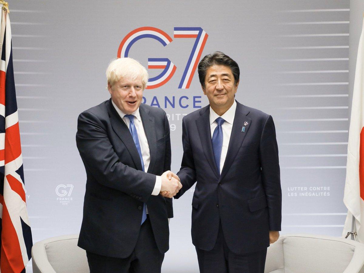 安倍総理と英ジョンソン首相  首相同士としては今年G7が初対面。 最初から2人はいい雰囲気でした  安倍総理の話を笑顔で聴いているのが トランプ大統領とジョンソン首相…(という象徴的な写真)  英国のTPP加盟が実現できたら 日本主導のTPPの世界観が広がりより強固になります 西村担当大臣、頑張って https://twitter.com/nishy03/status/1205780940351401984…