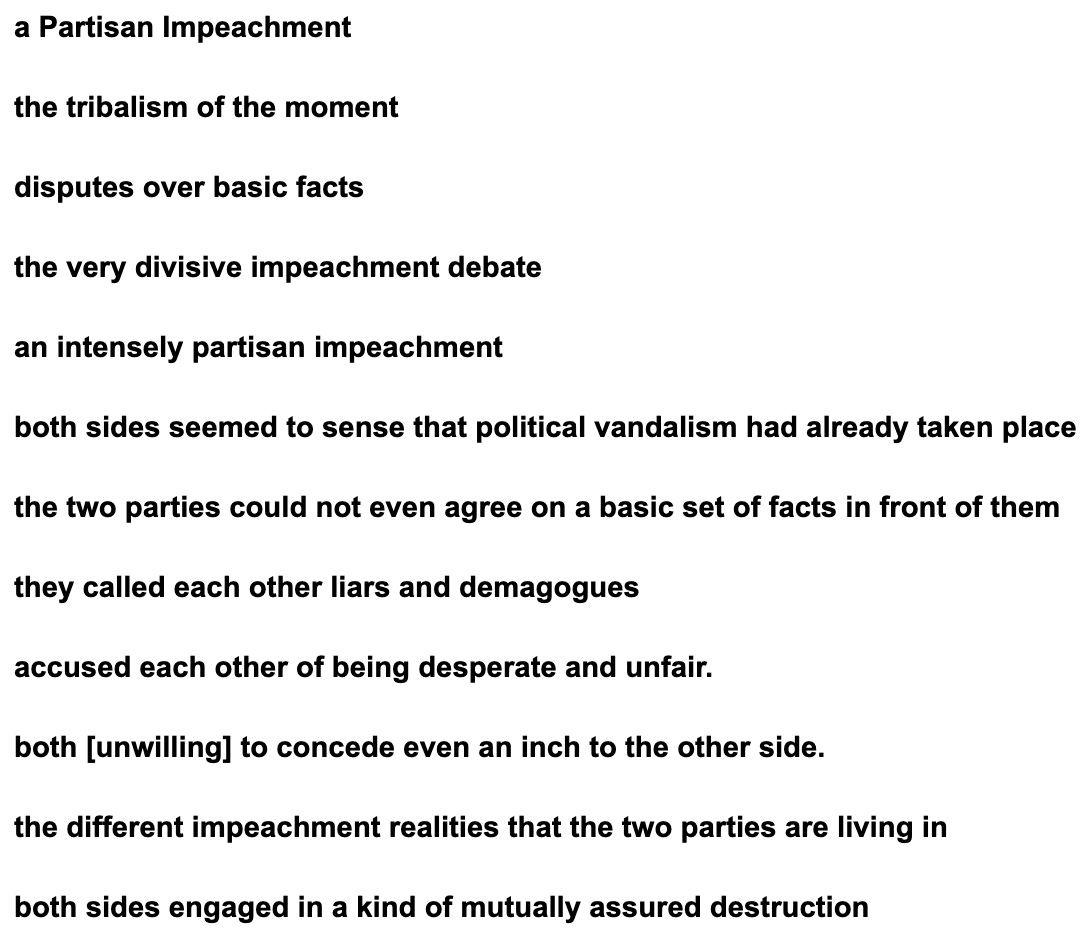 This is it, people. This is all they got. All phrasing from a single story in the New York Times today. https://www.nytimes.com/2019/12/13/us/politics/impeachment-partisan-trump.html… Asymmetrical polarization is just too much for the institution as currently led. So they changed it to 50/50 polarization and put it on page one.