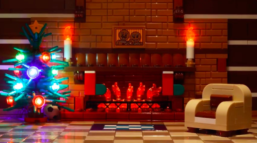 Curl up in front of a cozy Lego yule log that's streaming on YouTube 24/7.