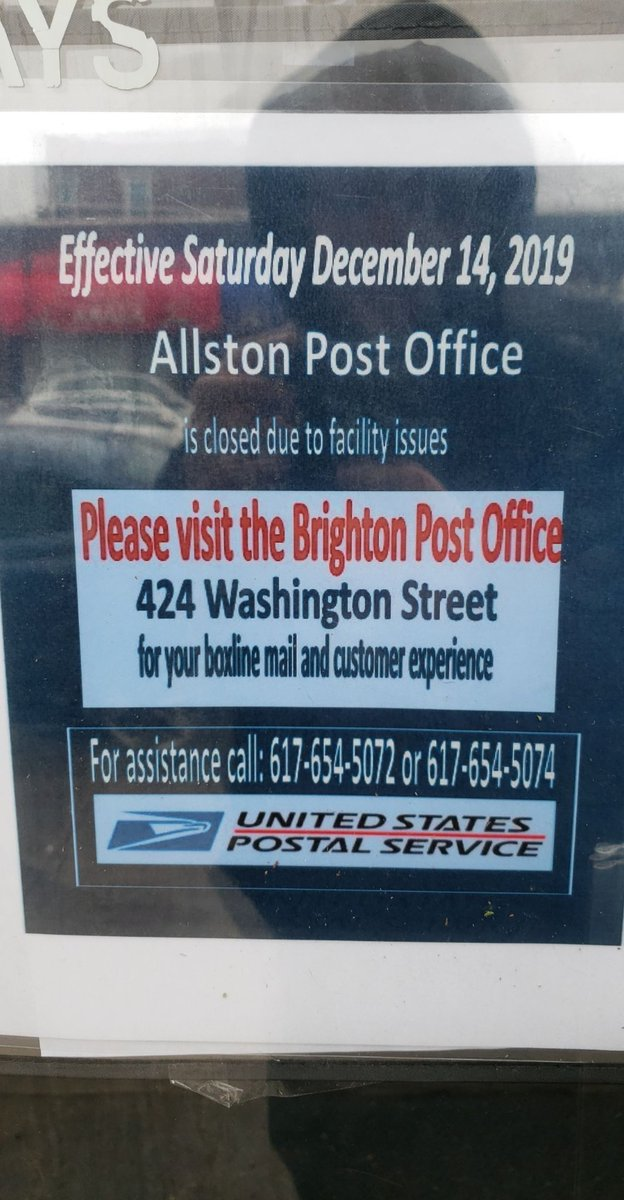 FYI the allston post office is closed, posting so no one walks a mile to it in the rain like I just did 🙃  CC: @allstonratcity