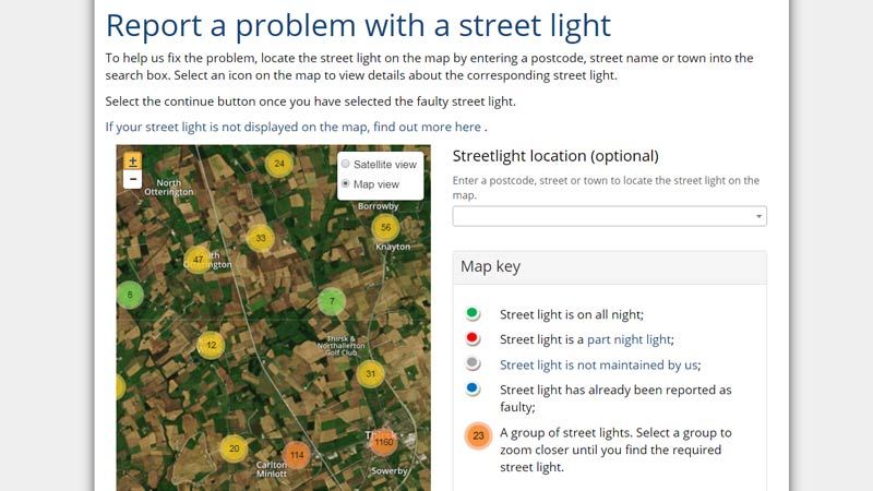 It's easy to report a street light problem on our website. Just select the light on our online map and tell us the type of problem. One of our engineers will then investigate. You can also check if a light has already been reported on our map.  📱💻➡️