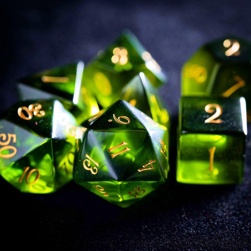 Peridot Zircon Glass Dice Set🧚🏻💚 #dnd #dice #ttrpg #dungeonsanddragons