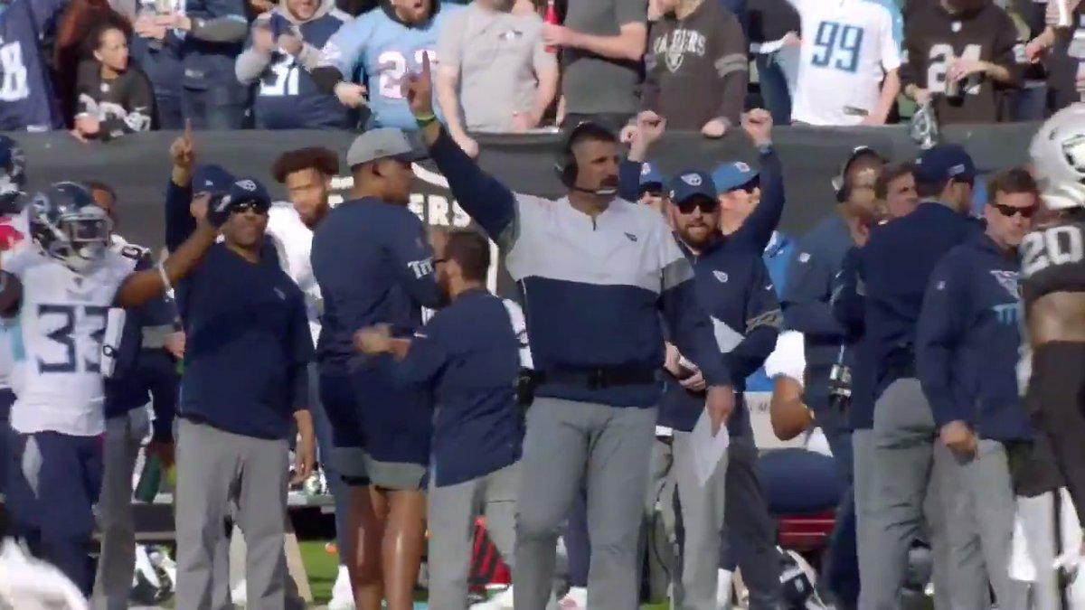 "Big. Strong. Fast. And winners of four straight.  @Titans coach Mike Vrabel: ""You look like ME out there."" 😂(via @NFLFilms)"