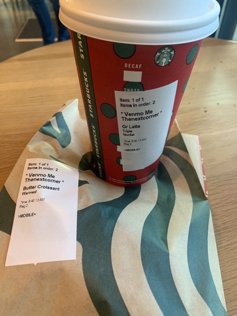 Test is succeeding, need more ideas and data, so here goes;   Did you had your fix yet? Coffee & croissant for free for this bid dog!  #Venmo  #paypal  #forfree #branding #starbucks @venmo @starbuckspic.twitter.com/hFOip5h7Jl