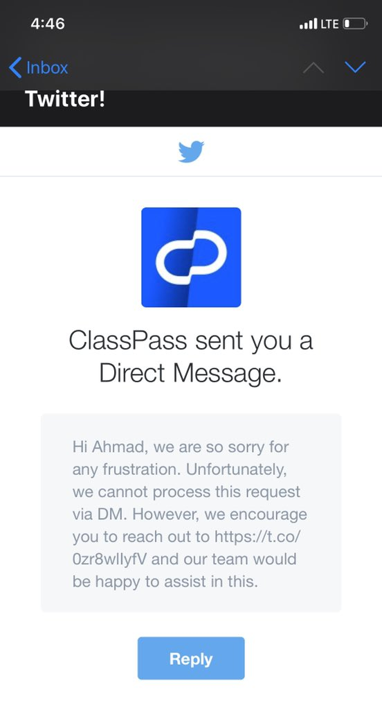 @classpass support being totally useless.. the contact page on their app/website leads to no answer, then they ask to jump on DMs on Twitter only to direct you back to the useless contact page #classpass #support #fail