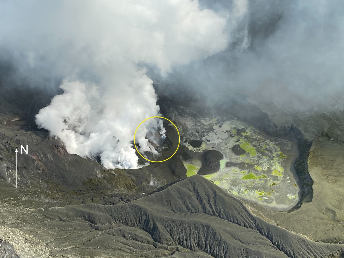 Todays Volcanic Alert Bulletin for Whakaari/White Island is now on our website. Volcanic tremor has dropped significantly and an aerial observation this morning confirmed the glow visible at night, is from this active vent area circled below. Read more: geonet.org.nz/vabs/1qT3rxxhw…