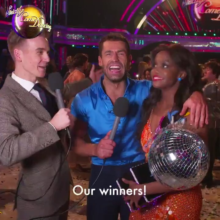 .@Joe_Sugg got an exclusive interview with Kelvin and Oti straight after their winning moment! And they want to thank all of YOU that supported them. #StrictlyFinal.
