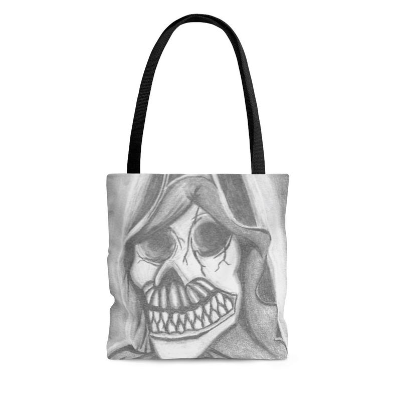 These bags come in 3 sizes. FREE SHIPPING to the US on everything in my shop.     #skull #horrorfam #horrorfamily #horrorartist #reaper #grimreaper #maineartist