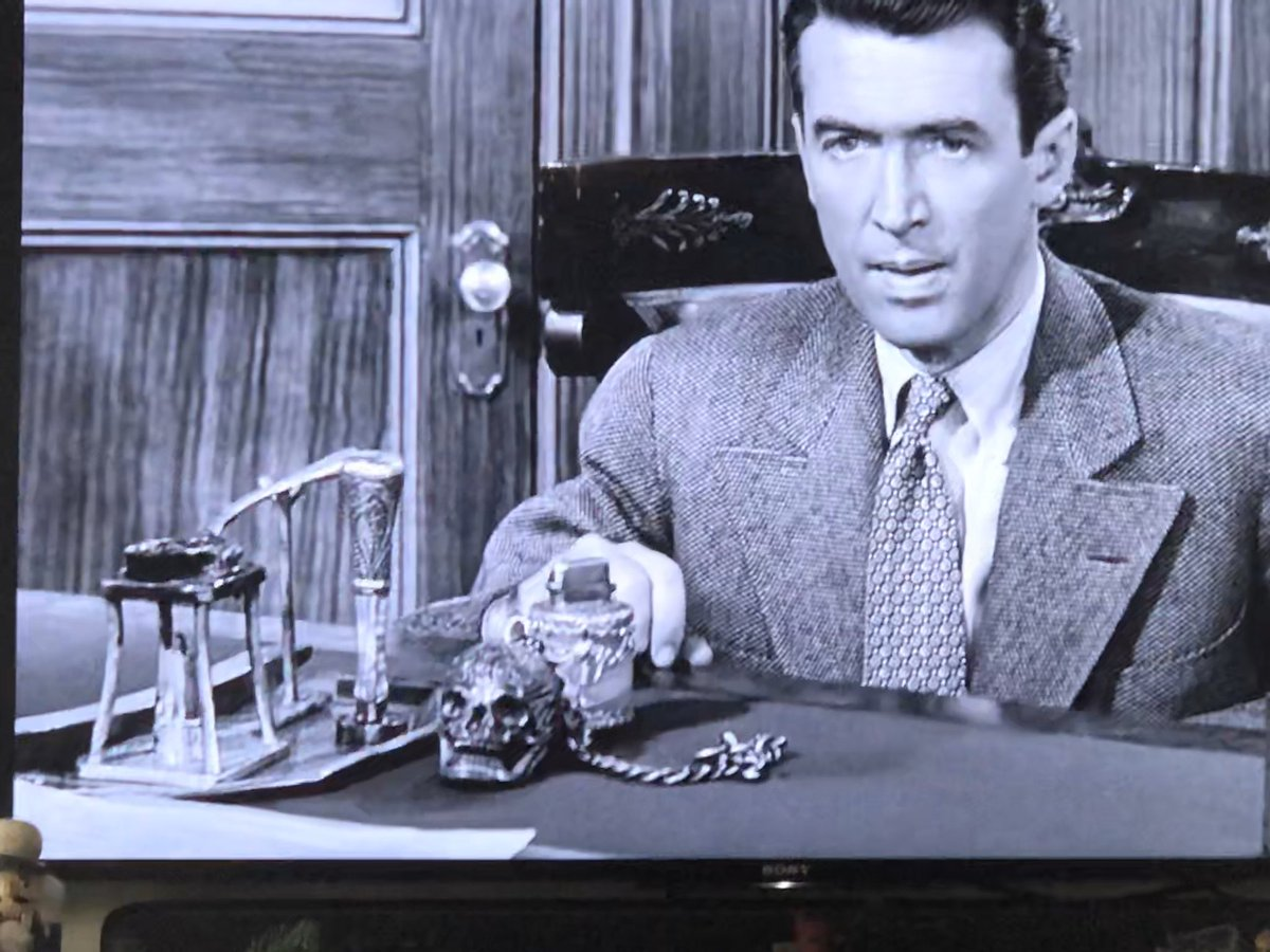 I have seen It's A Wonderful Life probably one thousand times but have never before noticed the ornate SKULL on Mr. Potter's desk