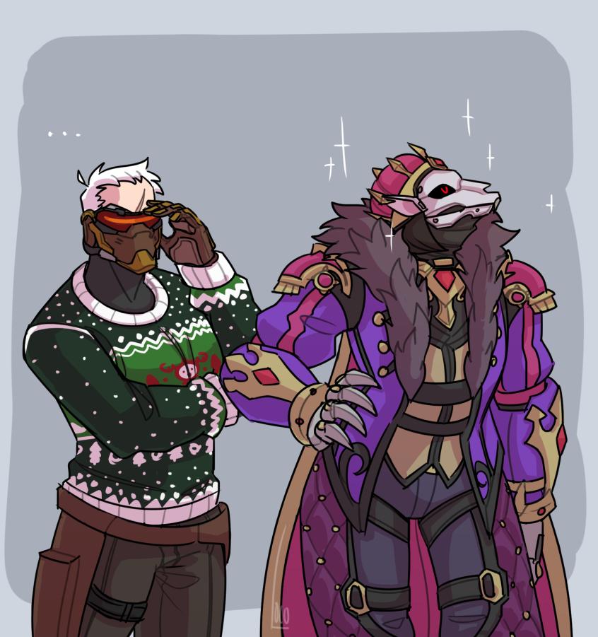 "It said ""festive attire"" on the invitation. #reaper #soldier76 #WinterWonderland #r76 #overwatch"