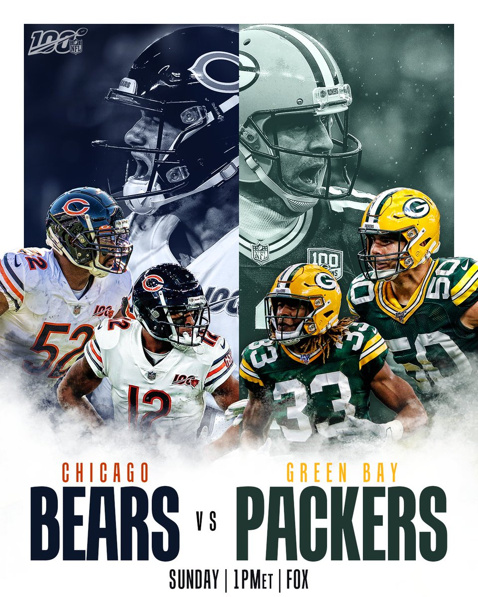 Sunday marks the 200th all-time meeting between the @ChicagoBears and @packers.   Who's winning No. 200? #Bears100 #GoPackGo  📺: #CHIvsGB -- TOMORROW 1pm ET on FOX 📱: NFL app // Yahoo Sports app