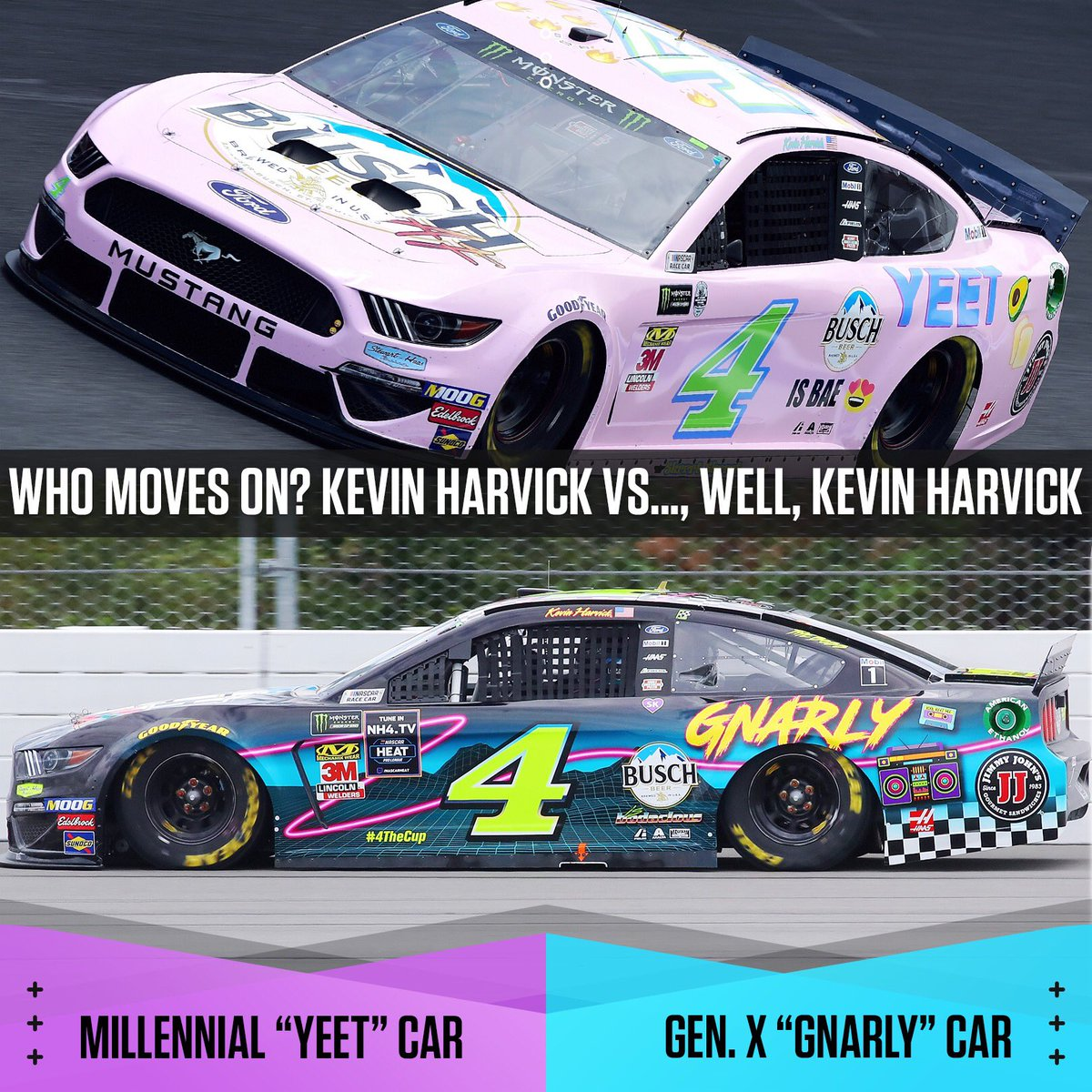 Nascar On Nbc On Twitter Next Matchup Millennial Car Vs Gen X Will Kevinharvick Yeet His Way Into The Quarterfinals Or Will The Gnarly Car Send The Pink Ride Home With A Top luxury cars cars sports cars cute cars pink car lamborghini cars dream cars sports car luxury. millennial car vs gen x will