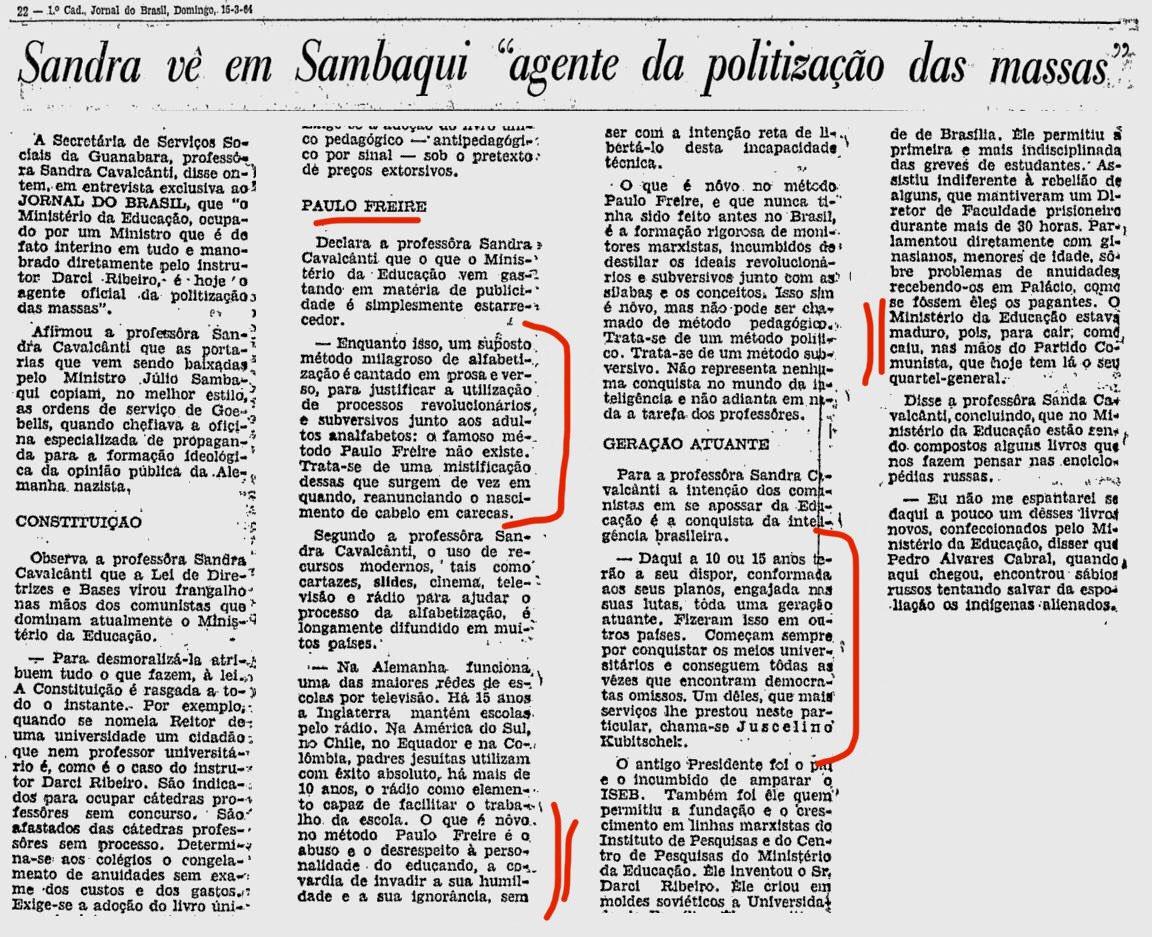 Leiam essa entrevista profética da ex-Deputada Sandra Cavalcanti, publicada no Jornal do Brasil, em 15/03/1964.