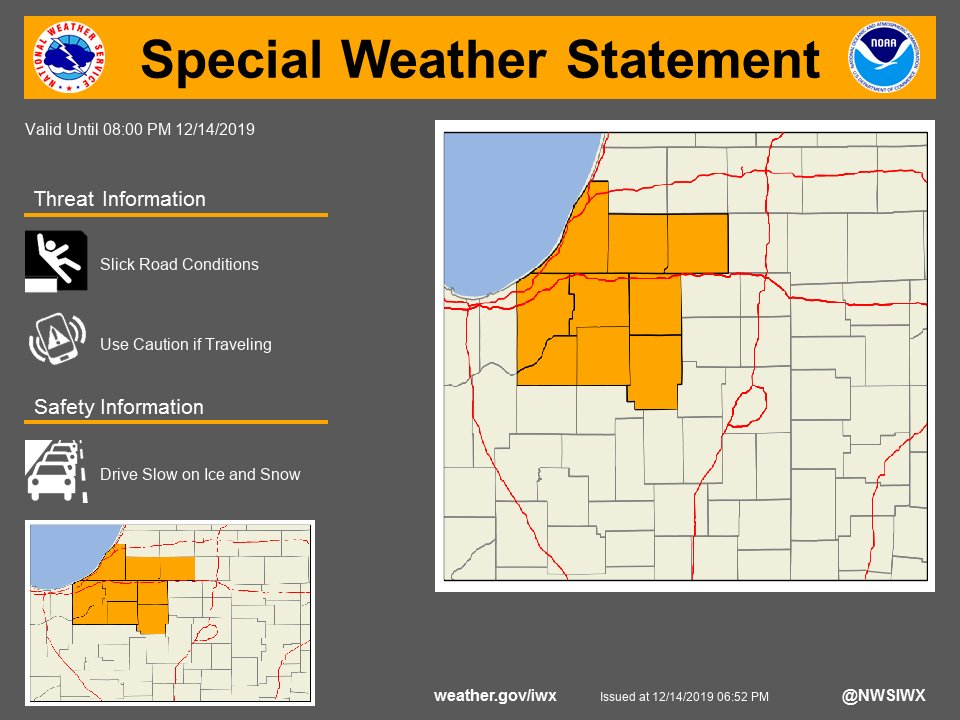 SPECIAL WEATHER STATEMENT...Patchy slick roads possible this evening...graphic posted to
