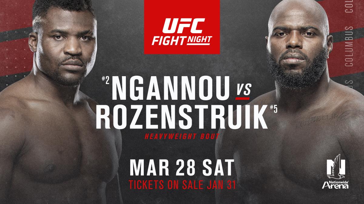 HUGE main event set for #UFCColumbus!🇬🇭@Francis_Ngannou 🆚@JairRozenstruik 🇸🇷🎟️➡️ Tickets on sale Jan. 31