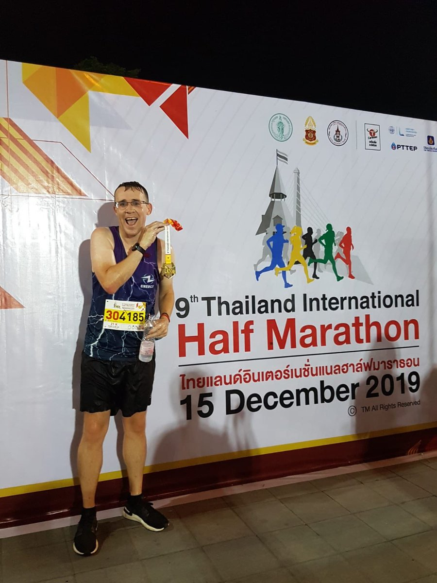 That went so much better than in Can Tho. I was moaning about the early start but finishing before sunrise was a massive help. Hugely annoyed that the race seems to be measured short, so ultimately the run will count for nothing but at least I have the medal! #Running #Bangkok