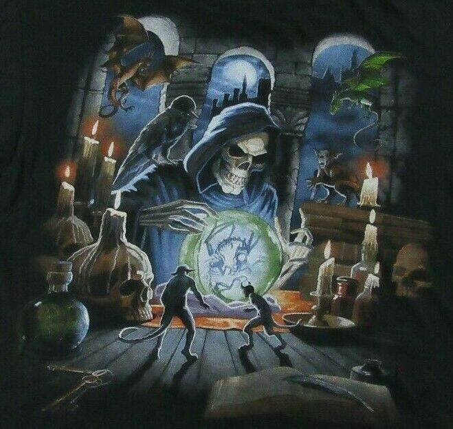 Please see photos for measurements  #Alchemy #Gargoyles #Grim #Horror #Reaper #shirt #Size #Skeleton #Skull #Witchcraft