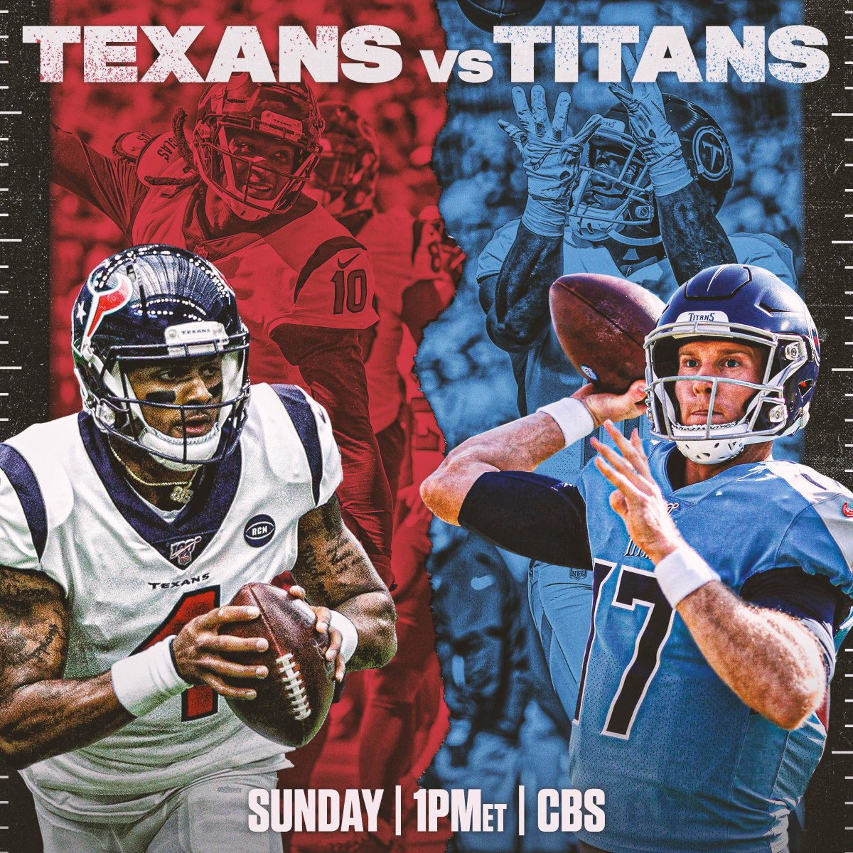 Winner takes the lead in the AFC South. 👀 #WeAreTexans #Titans  📺: #HOUvsTEN -- TOMORROW 1pm ET on CBS 📱: NFL app // Yahoo Sports app