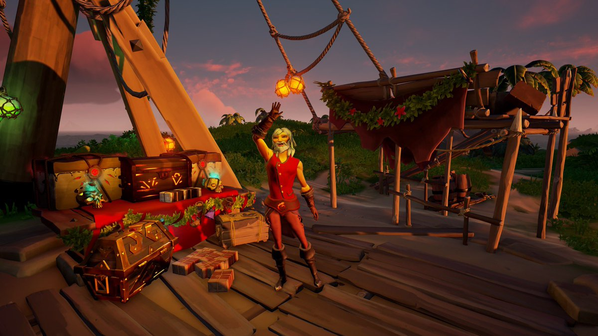 Bunch of gifts at the Christmas tree! First come first serve. Delivered by yours truely, Santy Paws! ♥️🐾  @SeaOfThieves #SeaOfThieves #christmas #sealfgiving 🎄🎅🏼