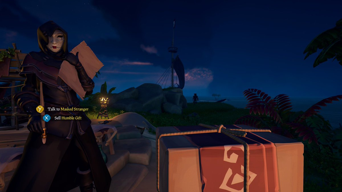 It pays to play... Sloop just rolled up and offered me one of their gifts. We exchanged seasonal jolities and they headed off. I love this game! @SeaOfThieves #seaofgiving #seaofgifts #payitforward