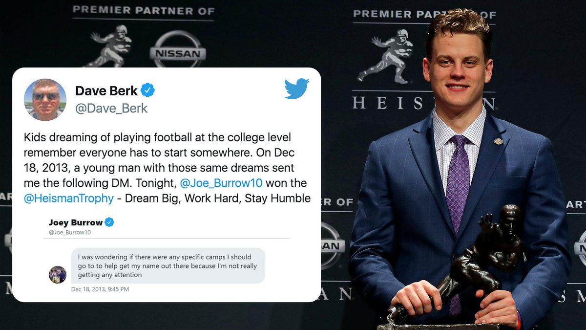 Nearly six years ago, Joe Burrow reached out to a football recruiting consultant to help get more attention.  Today, he's a Heisman Trophy winner 🏆 (via @Dave_Berk)