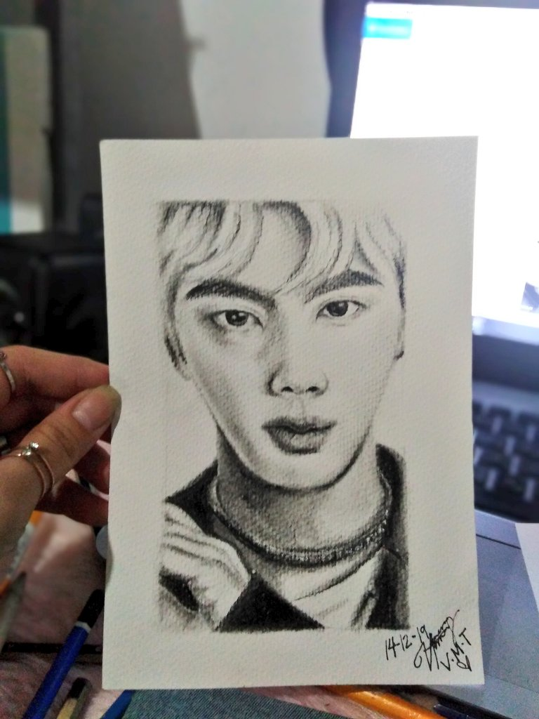 This is my own fanart that we gave yesterday @ the TaeJin birthday event 😭 As a person who lost her passion for Art, my hand was shaking when I started sketching. I couldn't believe myself that I did this for for 4-5 hours. Belated Happy Birthday to Seokjin! 💜 #HappyBirthdayJin