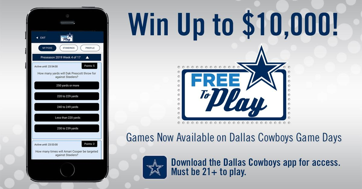 Check out Free-To-Play predictive games in the @dallascowboys to win cash prizes – up to a $10,000 Grand Prize! Fans must be 21 or older and logged in to play. Download the app for access on game days at dallascowboys.com/app.