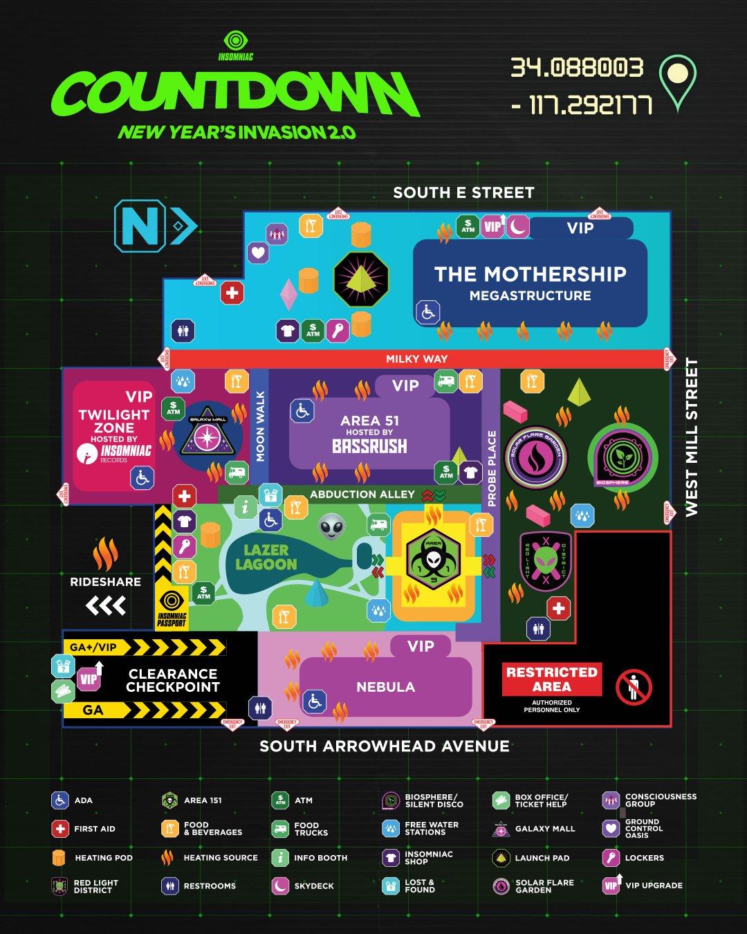 2020 Countdown NYE venue map