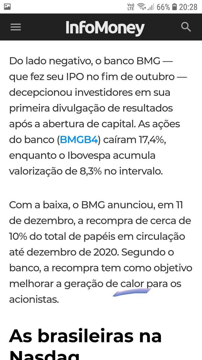 Papéis da BMG dando um CALOR nos acionistas #fintwit  #infomoney  #acontece  @oTourodeOuro  #IPO